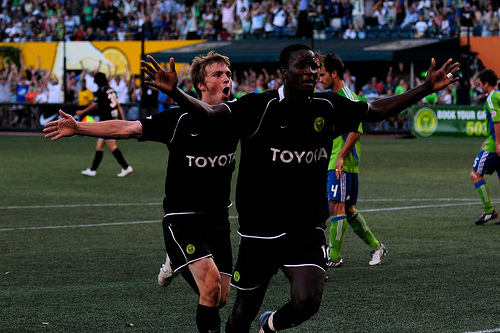 Keita celebrates against Seattle in the U.S. Open Cup third round.